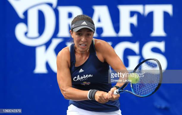 Jessica Pegula of the Orlando Storm returns a shot against the Chicago Smash during the semifinals of the World TeamTennis at The Greenbrier on...