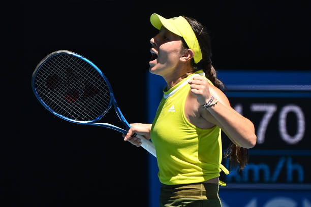 Jessica Pegula of the United States celebrates winning match point in her Women's Singles fourth round match against Elina Svitolina of Ukraine...