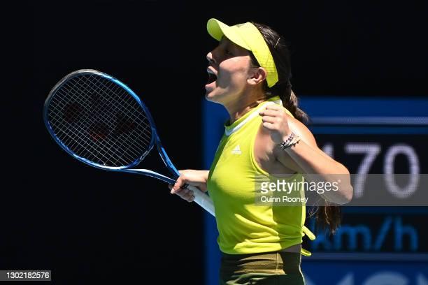Jessica Pegula of the United States celebrates winning match point in her Women's Singles fourth round match against Elina Svitolina of Ukraine...