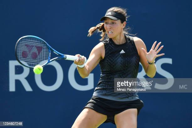 Jessica Pegula of the United States hits a return during her Women's Singles match against Anett Kontaveit of Estonia on Day Two of the National Bank...