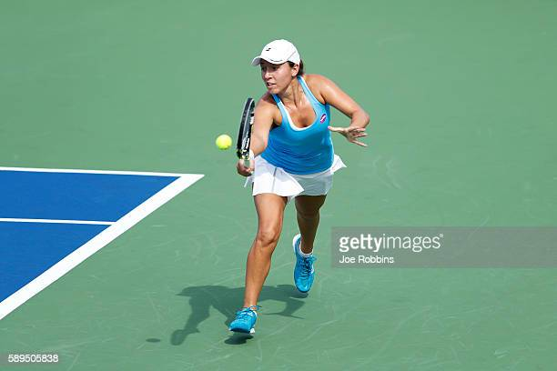 Jessica Pegula of the United States hits a return to Misaki Doi of Japan during their qualifying match on Day 2 of the Western Southern Open at the...