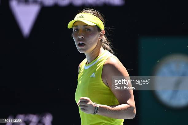 Jessica Pegula of The United States of America celebrates winning a point in her Women's Singles first round match against Victoria Azarenka of...