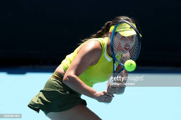 Jessica Pegula of the United States plays a backhand in her match against Sofia Kenin of the United States during day four of the WTA 500 Yarra...