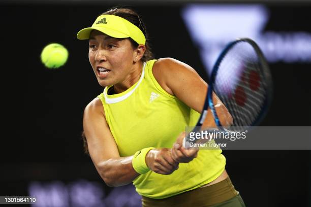 Jessica Pegula of the United States plays a backhand in her Women's Singles second round match against Samantha Stosur of Australia during day four...