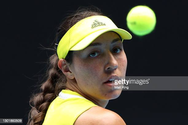 Jessica Pegula of the United States plays a backhand in her Women's Singles third round match against Kristina Mladenovic of France during day six of...