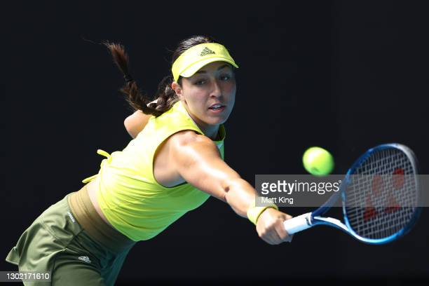 Jessica Pegula of the United States plays a backhand in her Women's Singles fourth round match against Elina Svitolina of Ukraine during day eight of...