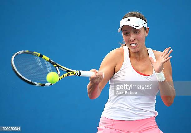 Jessica Pegula of the United States plays a forehand in her match against KaiLin Zhang of China during round two of 2016 Australian Open Qualifying...