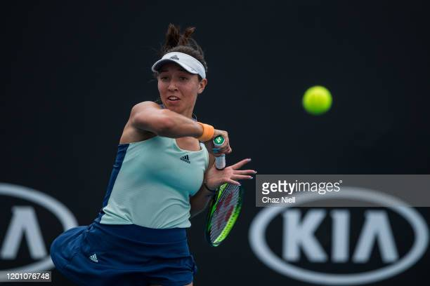Jessica Pegula of the United States plays a forehand in her second round match against Taylor Townsend of the United States on day three of the 2020...
