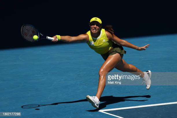 Jessica Pegula of the United States plays a forehand in her Women's Singles fourth round match against Elina Svitolina of Ukraine during day eight of...
