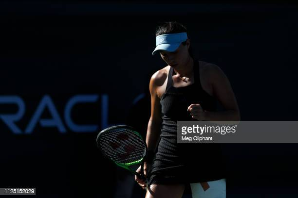 Jessica Pegula of the United States reacts during her semifinal match against Lauren Davis at Newport Beach Tennis Club on January 26 2019 in Newport...