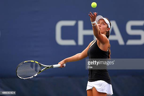 Jessica Pegula of the United States returns a shot against Alison Van Uytvanck of Belgium during their Women's First Round match on Day One of the...