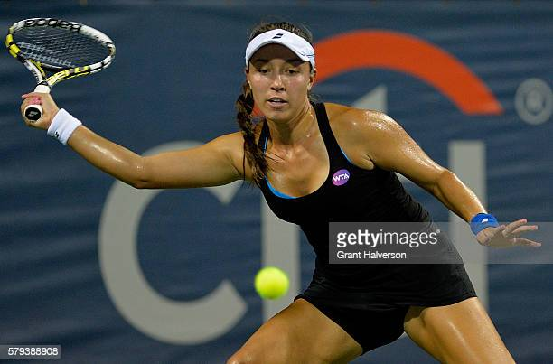 Jessica Pegula of the United States returns a shot against Lauren Davis of the United States in the semifinals of the Citi Open at Rock Creek Tennis...