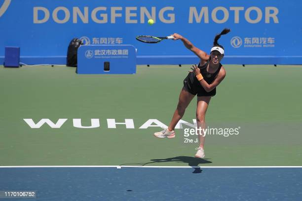 Jessica Pegula of the United States returns a shot during the match against Polona Hercog of Slovenia on Day 1 of 2019 Dongfeng Motor Wuhan Open at...