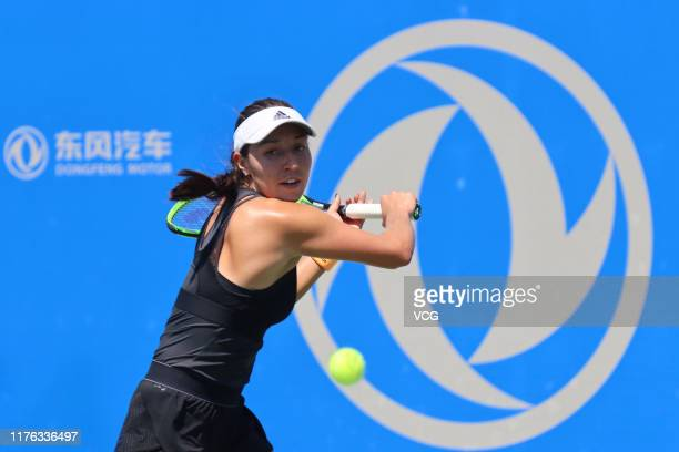 Jessica Pegula of the United States returns a shot in the first round match against Polona Hercog of Slovenia on Day one of 2019 Dongfeng Motor Wuhan...