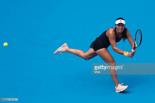 Jessica Pegula of the United States returns a shot in the Women's Singles first round match against Naomi Osaka of Japan on Day two of 2019 China...