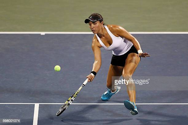 Jessica Pegula of the United States returns a shot to Agnieszka Radwanska of Poland during her first round Women's Singles match on Day Two of the...