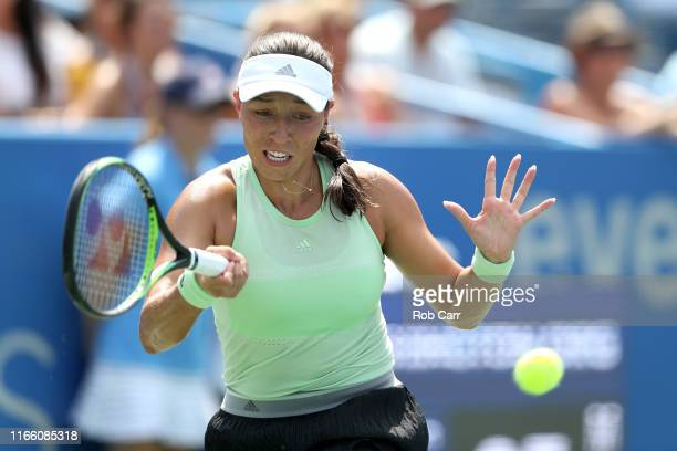 Jessica Pegula of the United States returns a shot to Camila Giorgi of Italy during the women's singles final of the Citi Open at Rock Creek Tennis...