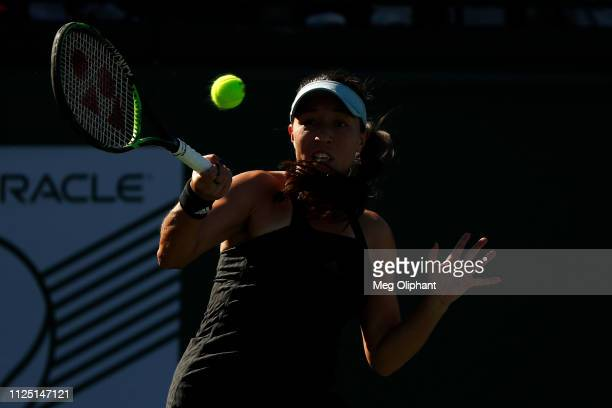Jessica Pegula of the United States returns the ball to Lauren Davis in their semifinal match at Newport Beach Tennis Club on January 26 2019 in...