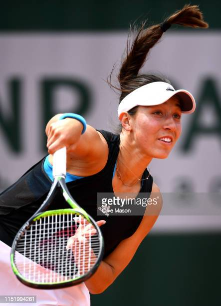 Jessica Pegula of The united States serves during her ladies singles first round match against Ashleigh Barty of Australia during Day two of the 2019...