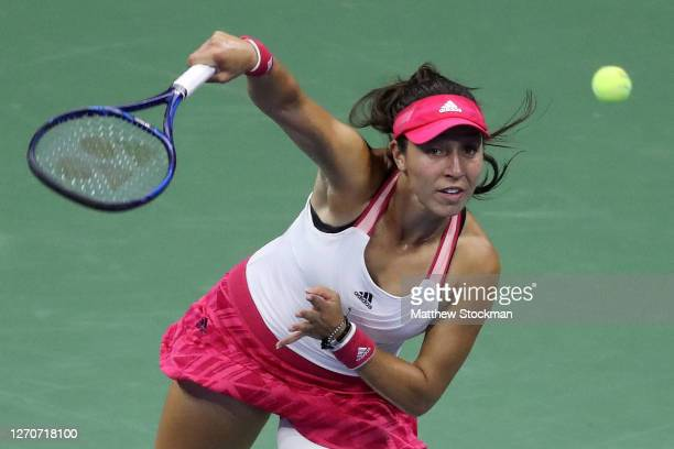 Jessica Pegula of the United States serves during her Women's Singles third round match against Petra Kvitova of the Czech Republic on Day Five of...
