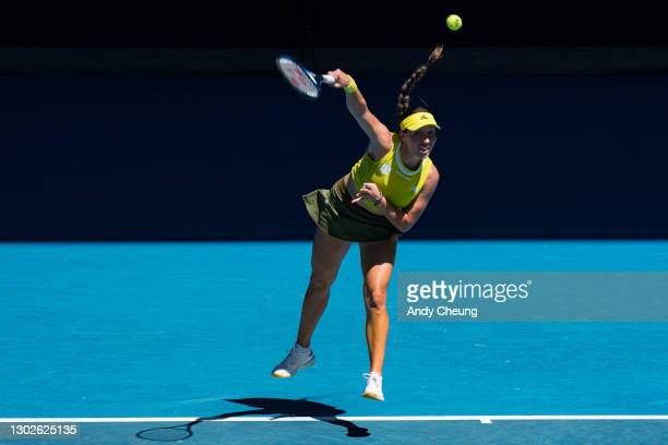 Jessica Pegula of the United States serves in her Women's Singles Quarterfinals match against Jennifer Brady of the United States during day 10 of...