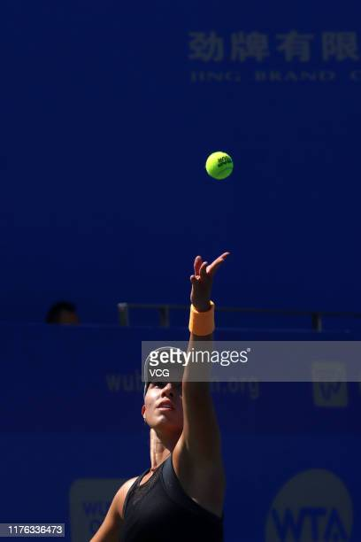 Jessica Pegula of the United States serves in the first round match against Polona Hercog of Slovenia on Day one of 2019 Dongfeng Motor Wuhan Open at...