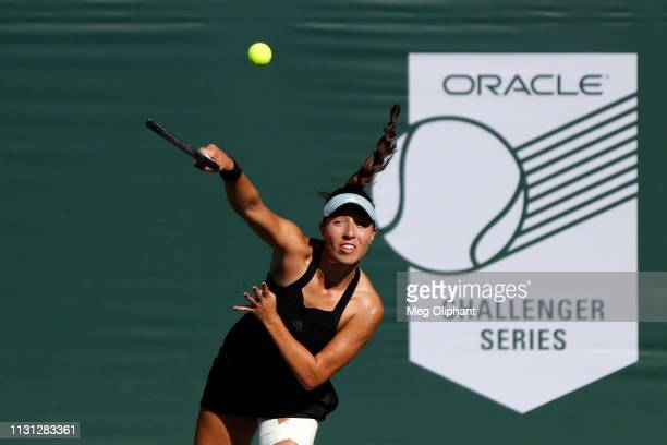 Jessica Pegula of the United States serves the ball to Lauren Davis in their semifinal match at Newport Beach Tennis Club on January 26 2019 in...