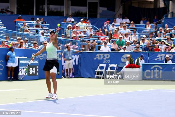 Jessica Pegula of the United States serves to Camila Giorgi of Italy during the women's singles final of the Citi Open at Rock Creek Tennis Center on...