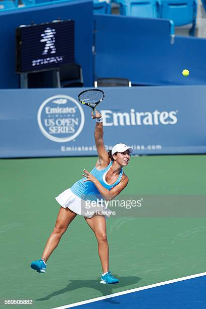 Jessica Pegula of the United States serves to Misaki Doi of Japan during their qualifying match on Day 2 of the Western Southern Open at the Lindner...