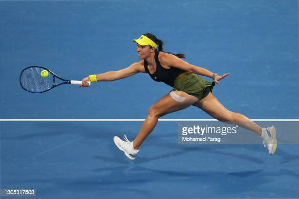 Jessica Pegula of The United States stretches to play a forehand in her Quarter-Final singles match against Karolina Pliskova of The Czech Republic...