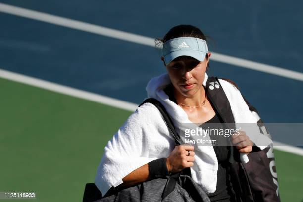 Jessica Pegula of the United States walks off the court after defeating Lauren Davis in their semifinal match at Newport Beach Tennis Club on January...