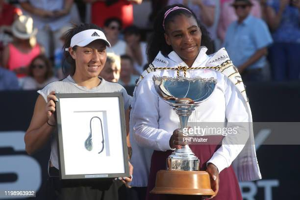 Jessica Pegula of the USA and Serena Williams of the USA following the singles final on day seven of the 2020 Women's ASB Classic at ASB Tennis...