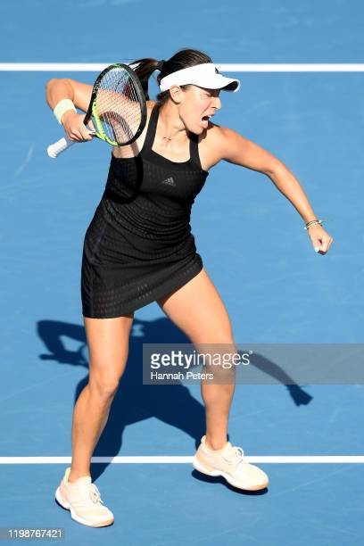 Jessica Pegula of the USA celebrates after winning her semifinal match against Caroline Wozniacki of Denmark during day six of the 2020 Women's ASB...