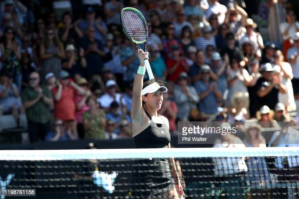 Jessica Pegula of the USA celebrates following her semifinal match against Caroline Wozniacki of Denmark during day six of the 2020 Women's ASB...