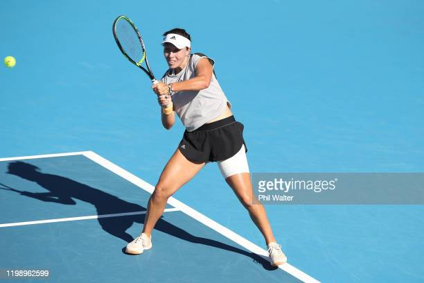 Jessica Pegula of the USA plays a backhand in the singles final against Serena Williams of the USA on day seven of the 2020 Women's ASB Classic at...