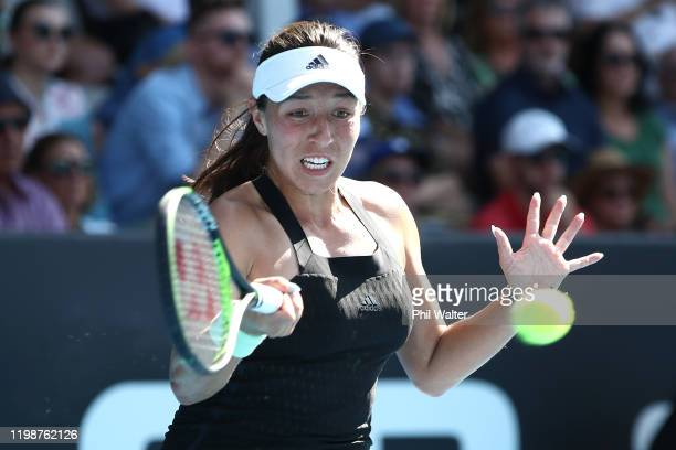 Jessica Pegula of the USA plays a forehand in her semifinal match against Caroline Wozniacki of Denmark during day six of the 2020 Women's ASB...