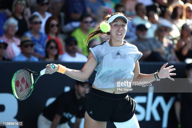 Jessica Pegula of the USA plays a forehand in the singles final against Serena Williams of the USA on day seven of the 2020 Women's ASB Classic at...