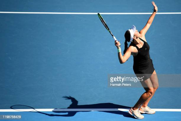 Jessica Pegula of the USA serves in her semifinal match against Caroline Wozniacki of Denmark during day six of the 2020 Women's ASB Classic at ASB...