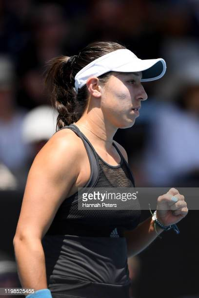 Jessica Pegula of USA celebrates a point during her quarter final match against Alize Cornet of France during day five of the 2020 Women's ASB...