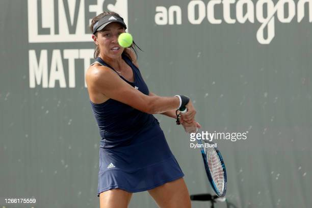 Jessica Pegula plays a backhand during her match against Catherine Bellis during Top Seed Open - Day 4 at the Top Seed Tennis Club on August 13, 2020...