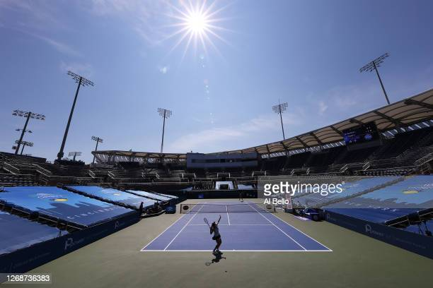 Jessica Pegula serves against Elise Mertens during the Western & Southern Open at the USTA Billie Jean King National Tennis Center on August 26, 2020...