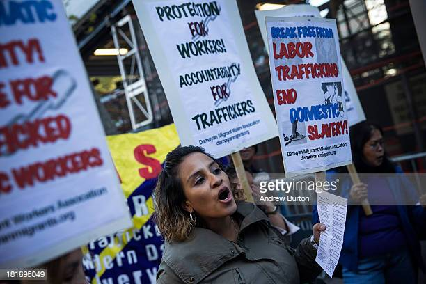 Jessica Penaranda of New York protests against labor trafficking and modern day slavery outside the United Nations on September 23 2013 in New York...