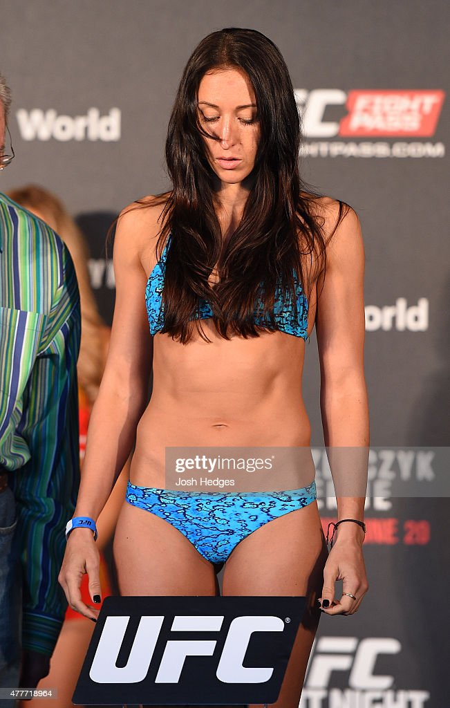 Jessica Penne of the United States weighs in during the UFC Berlin weigh-in at the O2 World on June 19, 2015 in Berlin, Germany.