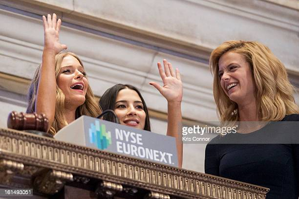 Jessica Perez Jessica Gomes and Kate Bock ring in the closing bell at New York Stock Exchange on February 11 2013 in New York City