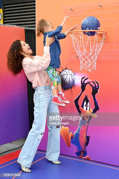 """Jessica Plummer attends a special screening of """"SPACE JAM: A NEW LEGACY"""" in cinemas 16th July at Cineworld Leicester Square on July 11, 2021 in..."""