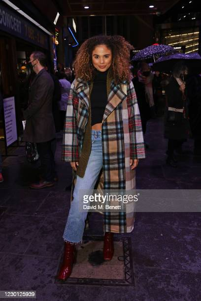 """Jessica Plummer attends the Opening Night of """"A Christmas Carol"""" at The Dominion Theatre on December 14, 2020 in London, England."""
