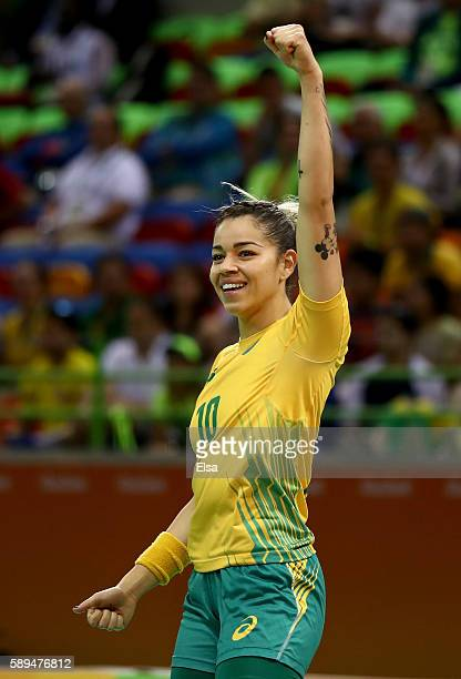 Jessica Quintino of Brazil celebrates in the second half against Montenegro on Day 9 of the Rio 2016 Olympic Games at the Future Arena on August 14,...
