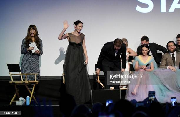"Jessica Radloff, Caitriona Balfe, Sam Heughan and Sophie Skelton speak onstage during the Starz Premiere event for ""Outlander"" Season 5 at Hollywood..."