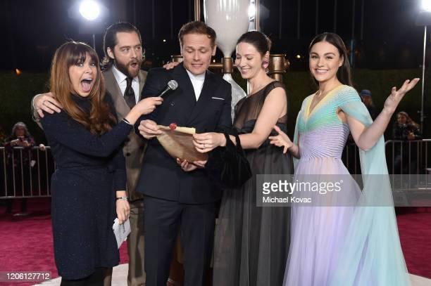 Jessica Radloff Richard Rankin Sam Heughan Caitriona Balfe and Sophie Skelton attend the Starz Premiere event for Outlander Season 5 at Hollywood...