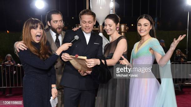 "Jessica Radloff, Richard Rankin, Sam Heughan, Caitriona Balfe and Sophie Skelton attend the Starz Premiere event for ""Outlander"" Season 5 at..."